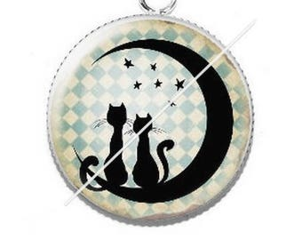 Pendant cabochons 25mm lady and her cat 3