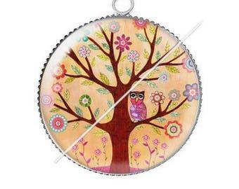 Tree 5 resin cabochon pendant