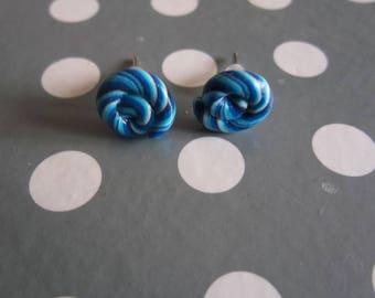 Simple Stud Earrings blue lollipop polymer clay food