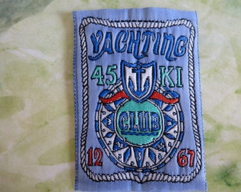 applique Yachting club Blue Shield patch sewing 6.4 cm x 4.5 cm