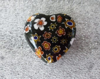 heart shaped millefiori glass bead bottom black 21 mm