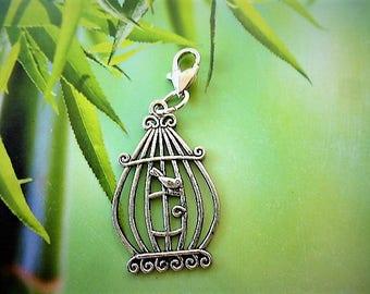 charm clasp heart Tibetan silver bird cage charm
