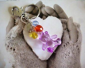 door keys transparent purple Teddy bear and 9 cm beads