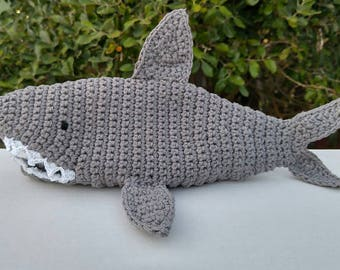 Shark Pencil Case, crochet shark pencil case, zipper bag, makeup brush holder, pencil holder, shark week, shark gift, back to school, pencil