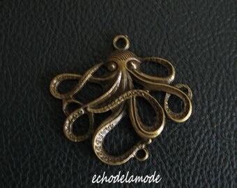 1 connector Octopus bronze 45 X 50 mm bracelet