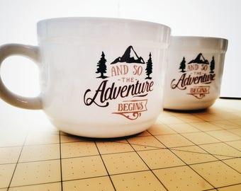 Let the Adventure Begin, Large Mug, Christmas Gift, Rustic mug