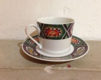 Georges Briard Kutani-Amethyst Set of 8 cups/saucers