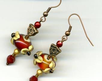 """-30% copper """"Les Enflammees"""" - unique - earrings"""