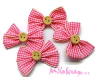 Set of 4 scrapbooking card making embellishment pink Gingham Bow *.