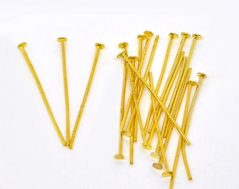 50 PCs 30 stem x 0.7 mm flat head, gold plated