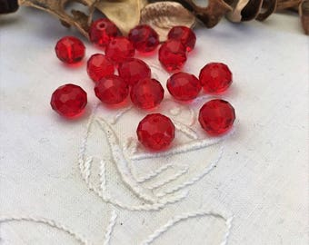 15 red poppy Crystal beads faceted 8 mm round