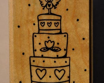 Rubber stamp mounted on wood - birth - cake