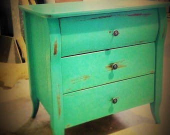 Vintage styled handmade three drawers nightstand with wooden legs