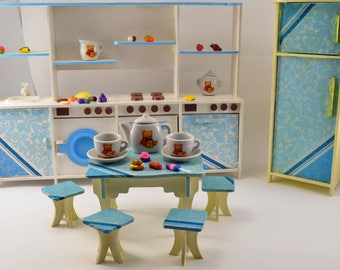 Big dolls house furniture Kitchen for doll house Dollshouse kitchen Gift for girl Gift for toddler Toy for girl Pretend play Barbie kitchen
