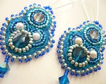 Blue earrings, embroidered earrings.