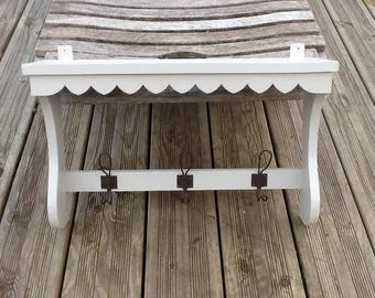 SHELF RACK IN SOLID GRAY GUSTAVIAN ANTIQUE FOLK ART PIN