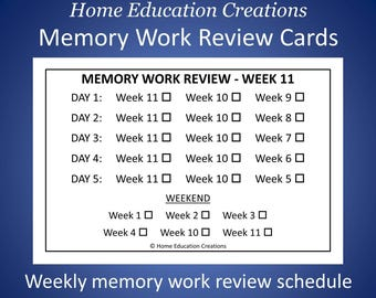 Classical Memory Work Review Cards (for CC)