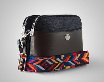 Hand Made Bag, Sholderbag, Guitar Strap, Bag, Cross-body bag, Dark Grey Bag, Free Shipping