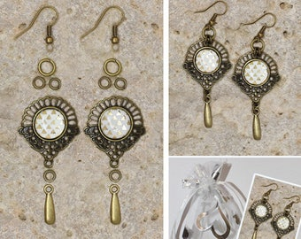 Kit earrings cabochon and Teardrop connector
