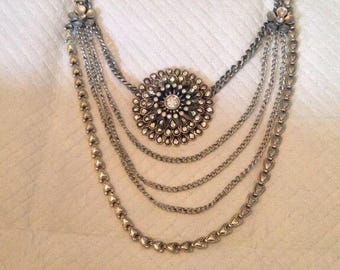 Sterling Silver layered necklace ~ Vintage ~ Boho ~ Unique