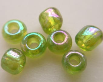 seed bead green glass iridescent free 3rd 11.10