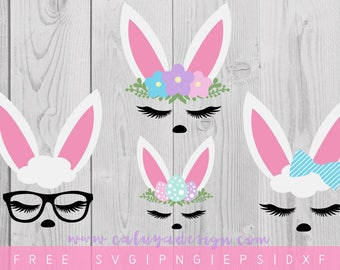 FREE SVG & PNG Link | Bunny Faces Cut Files, svg, png, dxf, eps | Commercial Use | circuit, cameo silhouette | Easter Cut Files