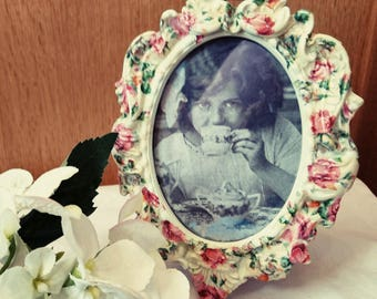 Photo Frame, Picture Frame, Floral, Oval, Ceramic Frame, Baroque style frame,shabby chic, vintage style, pink floral home decor, gift idea,