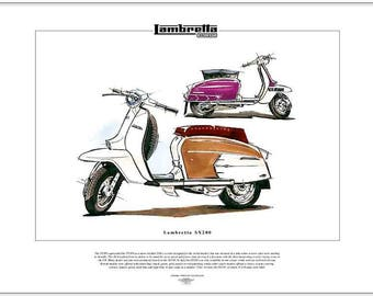 LAMBRETTA SX200 Scooter - Fine Art Print - Innocenti Mods Quadrophenia The Who
