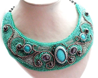 Necklace with turquoise and hematite