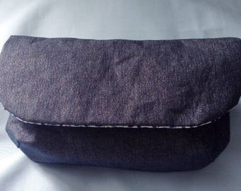 Shiny denim purse pouch