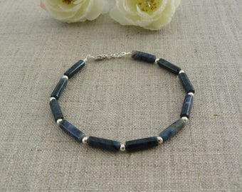 Blue agate rings and silver beads 925 sterling silver bracelet