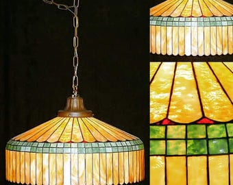 Albert Sechrist Art Nouveau  Leaded Glass Chandelier