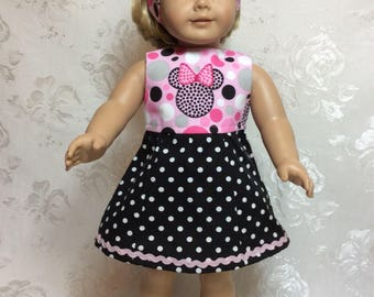 American Girl Doll dress, Minnie Mouse fashion, Just right for summer fun!