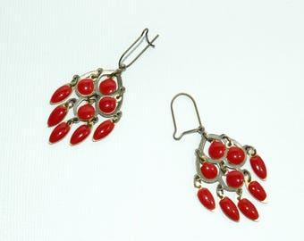 Red enameled pendants earrings