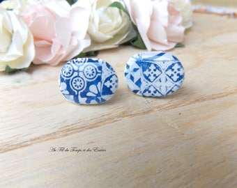 Stud Earring oval : Azulejos of Porto