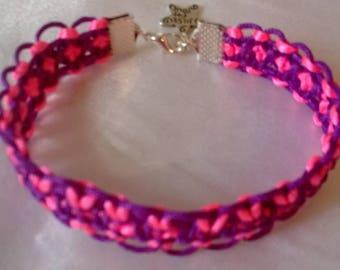 Macrame bracelet neon pink and light purple