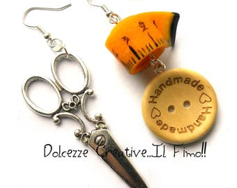 Kawaii - seamstress - scissors, tape measure and buttons handmade earrings
