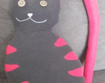 dark grey striped cat and fuchsia
