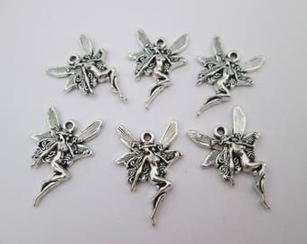 6 breloque fée elfe en métal argenté 21 x 15 mm