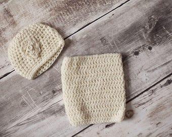 Set Hat + girl snood knit by hand