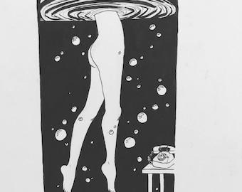 Unreachable - black and white art print