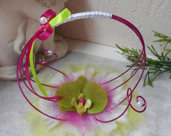Wedding ring pillow - white Orchid with fuchsia and lime green