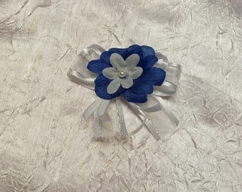 Navy blue flower wedding boutonniere