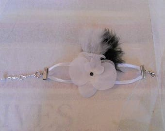 No. 390) Ribbon with white Orchid Bracelet