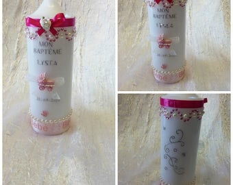 Candles for baptism or communion /fuchia pink and white