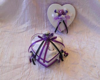 Pillow box in purple, black and white heart charm