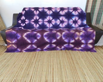 Throw and bed blue Brown fabric pattern ethnic tie-dye. 208 cm x 205 cm