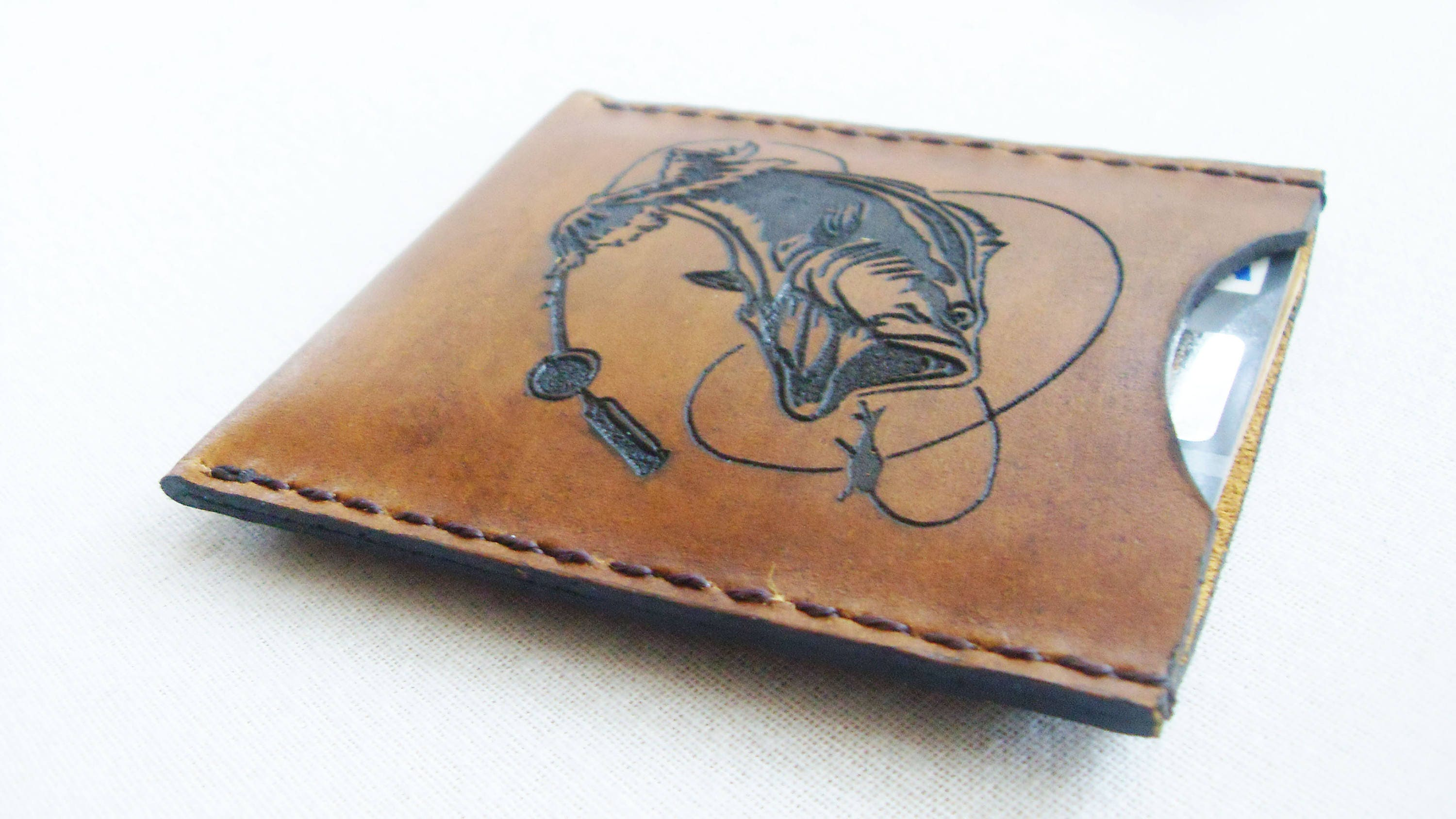 Leather wallet Leather Card Holder FREE MONOGRAM wallet