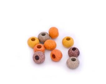 European orange yellow brown ceramic beads