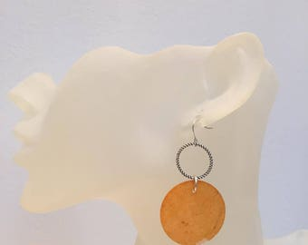 Orange mother of Pearl coin earrings